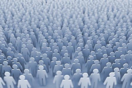 Große Gruppe von Strichmännchen Menschen . 3D-Rendering
