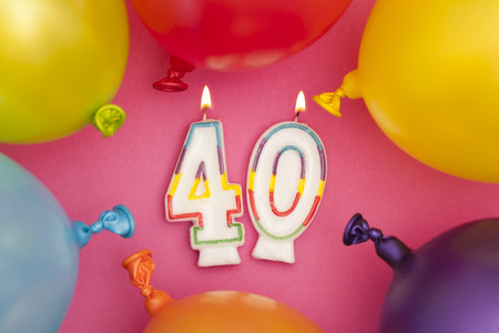 Happy Birthday number 40 celebration candle with colorful balloons