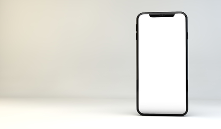 Modern smartphone with blank white edge to edge screen. 3D Rendering