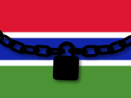 Gambia security. Silhouette of a chain and padlock over national flag