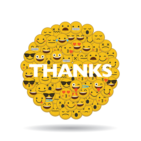 emoji emoticon character faces in a circle with message Ilustrace