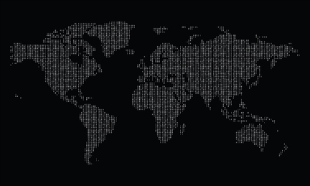 World map made from binary data code