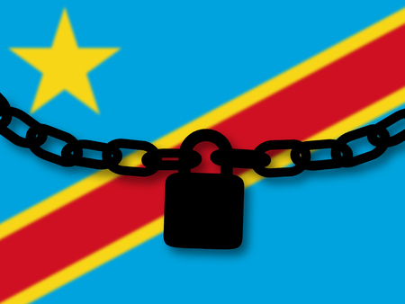 Democratic republic of Congo  security. Silhouette of a chain and padlock over national flag Stock Photo
