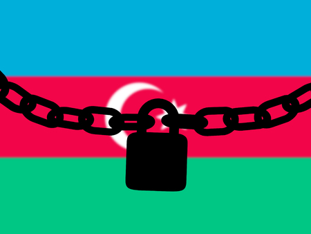 Azerbaijan security. Silhouette of a chain and padlock over national flag Stock Photo