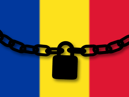 Romania security. Silhouette of a chain and padlock over national flag
