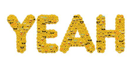 The word yeah written in social media emoji smiley characters 스톡 콘텐츠