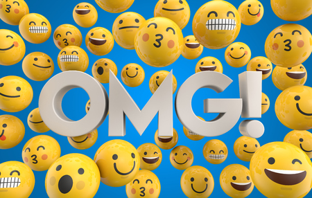Set of emoji emoticon character faces with the word OMG, 3D Rendering