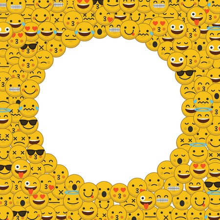 Set emoji-emoticon-personage gezichten in een cirkel