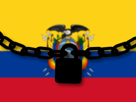 Ecuador security. Silhouette of a chain and padlock over national flag