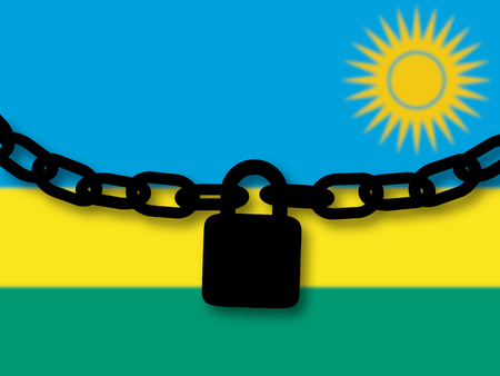 Rwanda security. Silhouette of a chain and padlock over national flag Stock Photo