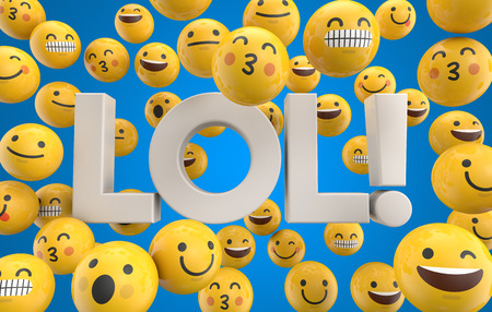 Set of emoji emoticon character faces with the word LOL, 3D Rendering
