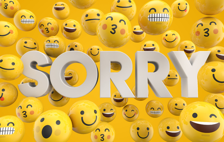 Set of emoji emoticon character faces with the word sorry, 3D Rendering