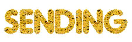 The word sending written in social media emoji smiley characters