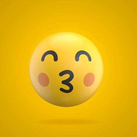 Emoji emoticon character face 3D Rendering