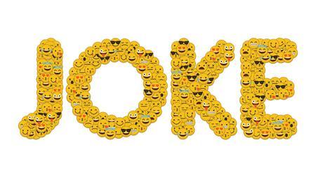 The word joke written in social media emoji smiley characters
