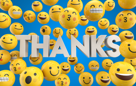 Set of emoji emoticon character faces with the word thanks, 3D Rendering Foto de archivo