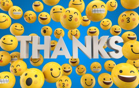 Zestaw twarzy emoji emotikonów ze słowem dzięki, renderowanie 3D