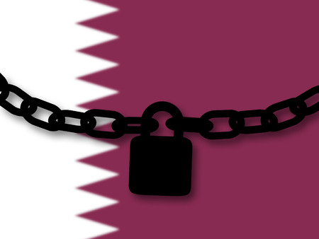 Qatar security. Silhouette of a chain and padlock over national flag Stock Photo