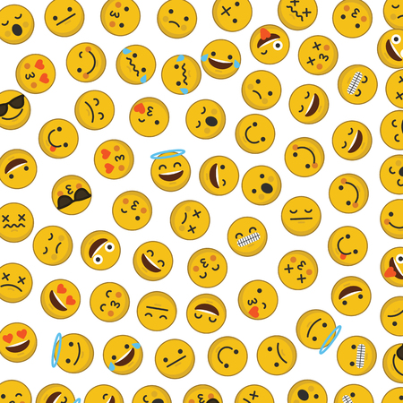 Set of emoji emoticon character faces ibackground Stock Photo