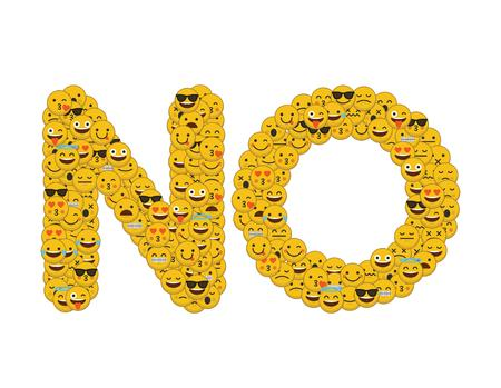 The word no written in social media emoji smiley characters