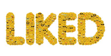 The word liked written in social media emoji smiley characters Imagens - 93223840