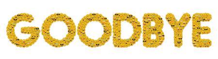 The word goodbye written in social media emoji smiley characters