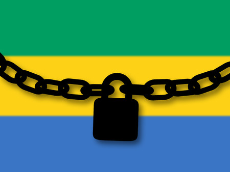 Gabon security. Silhouette of a chain and padlock over national flag Stock Photo
