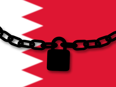 Bahrain security. Silhouette of a chain and padlock over national flag Stock Photo