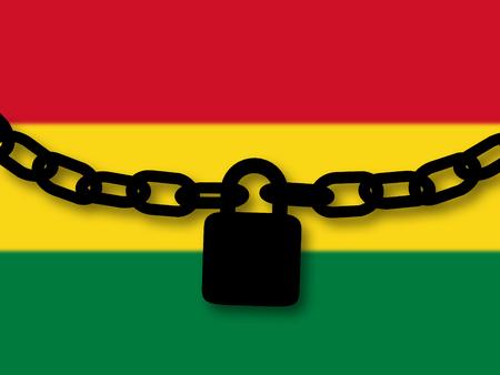 Seguridad de Bolivia Silueta de una cadena y candado sobre bandera nacional
