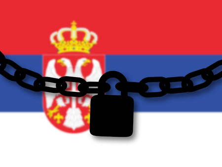 Serbia security. Silhouette of a chain and padlock over national flag