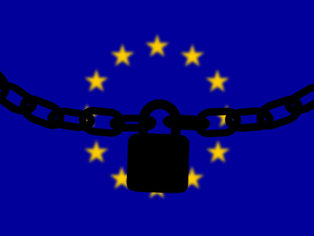 European Union  security. Silhouette of a chain and padlock over national flag