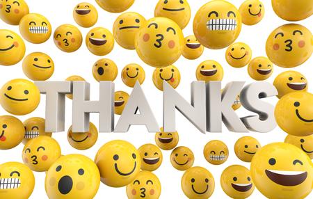 Set di emoji emoticon personaggio facce con la parola grazie, rendering 3D Archivio Fotografico