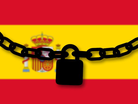 Spain security. Silhouette of a chain and padlock over national flag