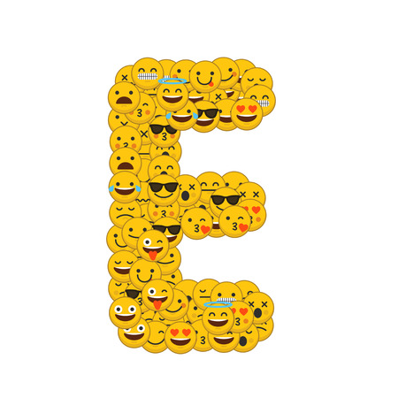 Emoji smiley characters capital letter E Stockfoto