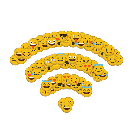 Set of emoji emoticon character faces in a wireless internet icon shape