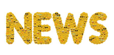 The word news written in social media emoji smiley characters
