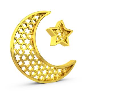 Ramadam Kareem golden moon and star. 3D rendering
