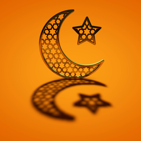 Ramadan Kareem moon and star. 3D Rendering Stock Photo