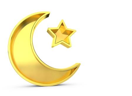 Ramadan Kareem moon and star. 3D Rendering Stock Photo