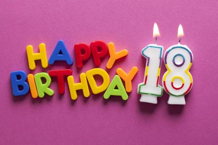 Number 18 happy birthday celebration candle