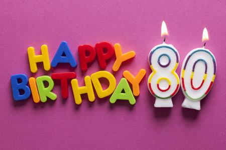 Number 80 happy birthday celebration candle