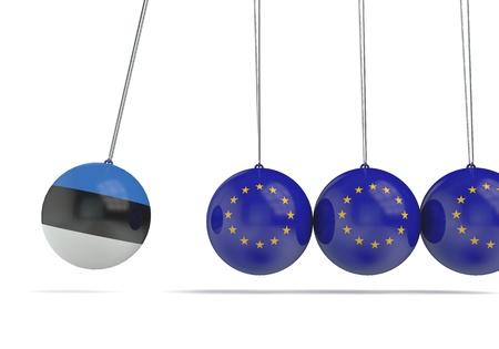 Estonia and european flags political relationship concept. 3D Rendering