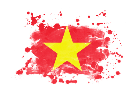 Vietnam flag grunge painted background Stock Photo