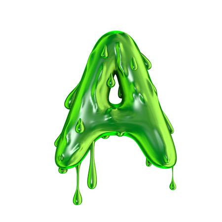 緑の滴下スライムハロウィーン大文字A 写真素材 - 92909916
