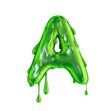 Green dripping slime halloween capital letter A