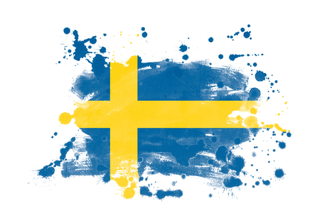 Sweden flag grunge painted background