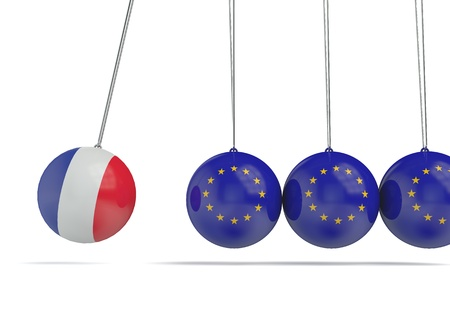France and european flags political relationship concept. 3D Rendering