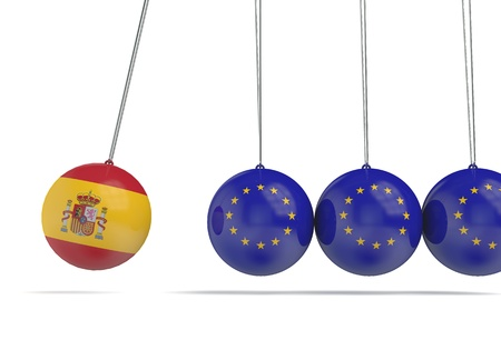 Spain and european flags political relationship concept. 3D Rendering
