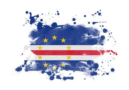 Cape Verde flag grunge painted background Banco de Imagens
