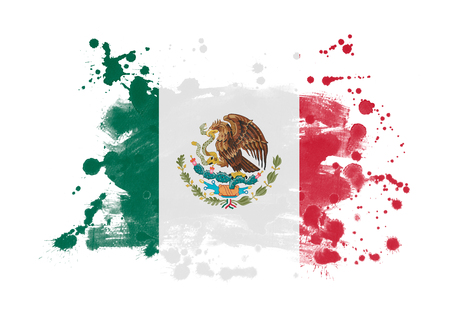 Mexico flag grunge painted background Imagens
